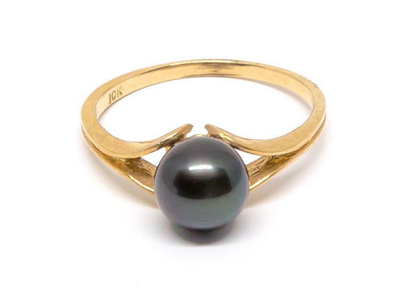 R27 Split Band Black Pearl Ring