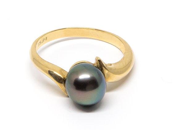 R10 Diagonal Black Pearl Ring
