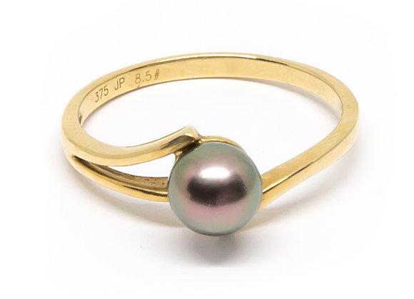 R43 Tri Band Black Pearl Ring