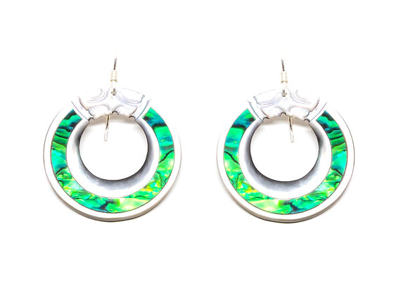 E28 Mother of Pearl Open Round Earrings