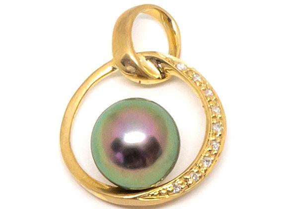 P27 Medallion w/DIA Black Pearl Pendant