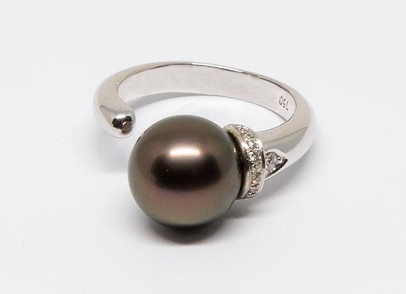 R19 Open Shank Black Pearl Ring w/Diamond