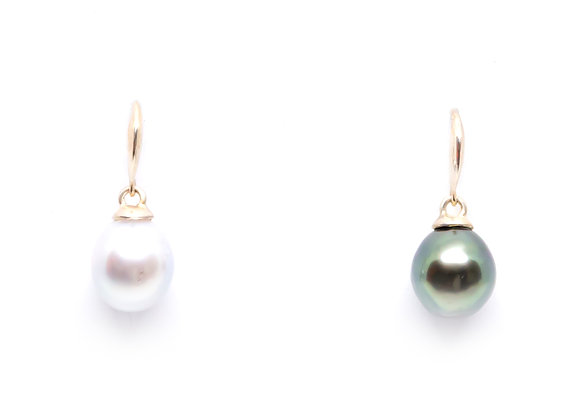 E13 Me/You Shepard Hooks Black Pearl Earrings