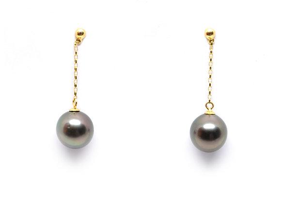 E20 Chain Drop Black Pearl Earrings