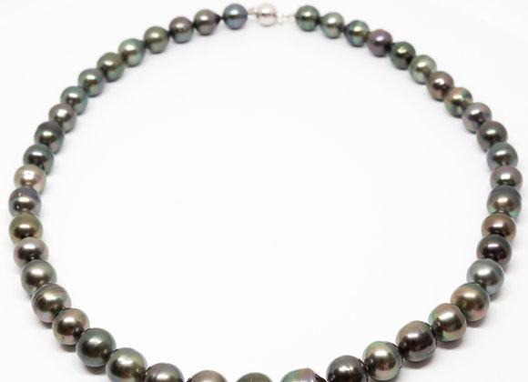 N4 Dark Semi-Baroque Black Pearl Necklace