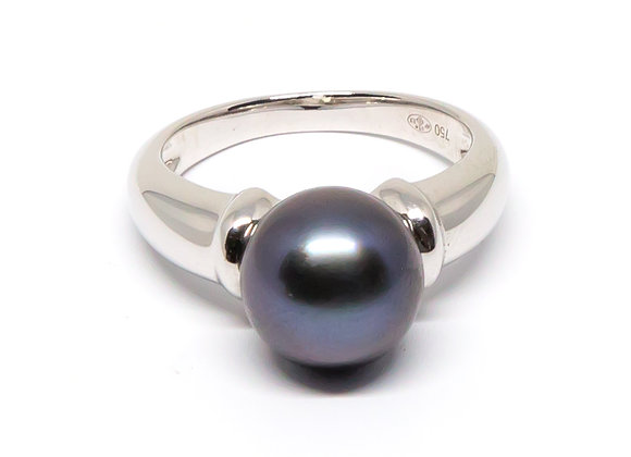 R41 Simple Black Pearl Band Ring