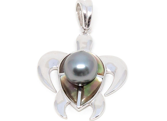 P37 Mother of Pearl Turtle Black Pearl Pendant