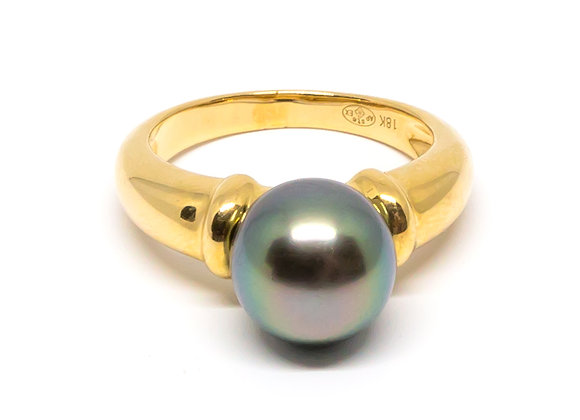 R32 Simple Band Black Pearl Ring