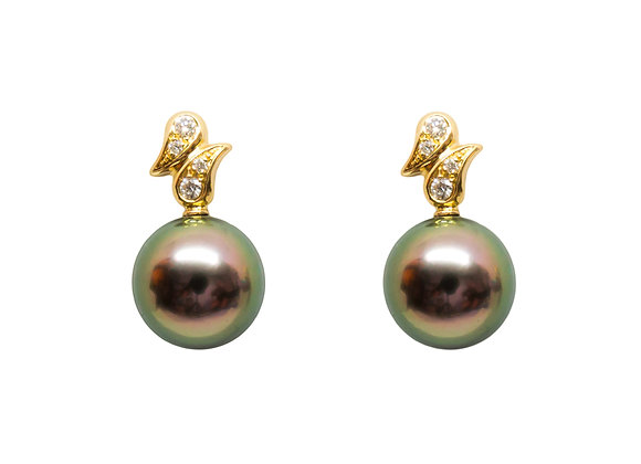 E37 Double Tear Drop DIA Black Pearl Earrings