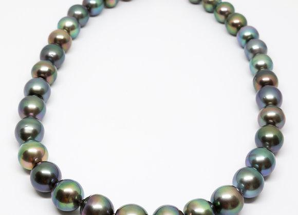 N9 Big Multi-Colour Semi-Round Black Pearl Necklace