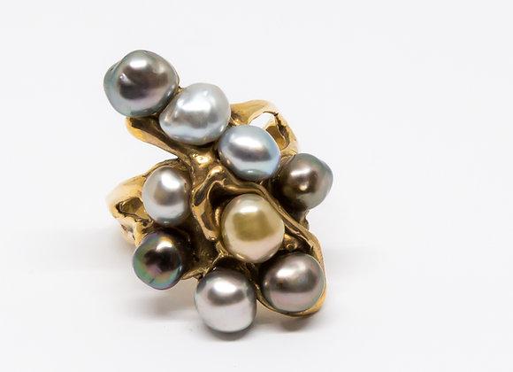 R20 9 Keshi Black Pearl Ring