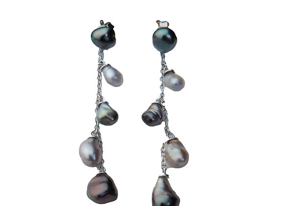 E6 Keshi Chain Drop Black Pearl Earrings