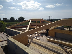 Glulam beams positioned