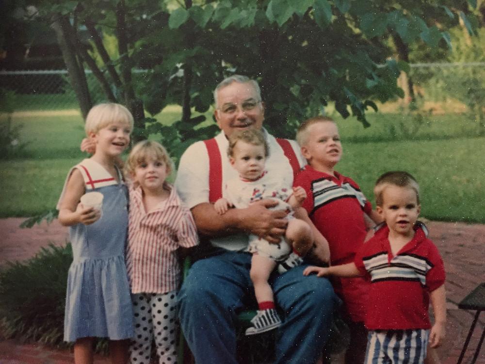 """Cousin Camp '93"" - Katrina, Erin, Papa, Ryan, James, Jason around"