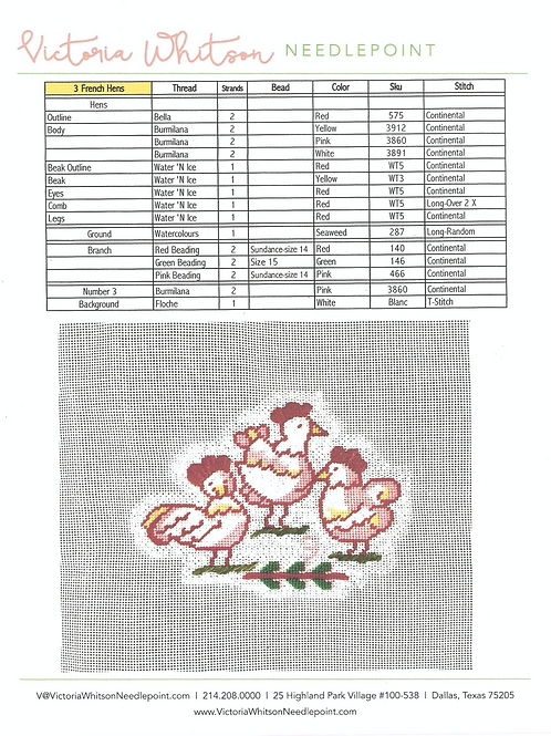 Thread and Stitch Suggestions-3 French Hens
