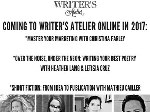 Get Your #Writing On: Coming to Writer's Atelier Online