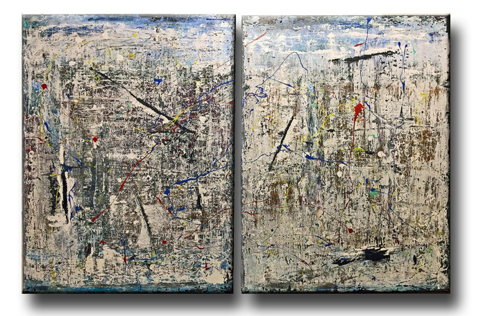 "Abstract set 30""x 40"" each  Set price $1,075 (no tax)"