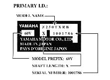 Yamaha Outboard Serial Number Plate