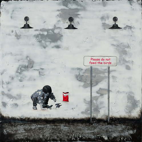 "Please Don't Feed the Birds - 16"" x 16"", Original Art"