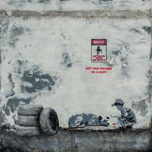 "Attack Dog on Duty - 12"" X 12"" Fine Art Giclée, in an acid-free mat"