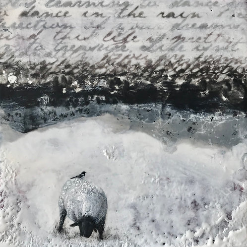 "The Ewe and the Magpie - 8"" x 8"", Original Art"