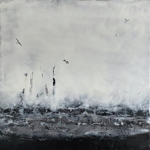 "AVAILABLE - Through the Storm - 16"" x 16"" x 1.5"", Original Art"