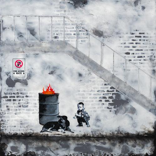 """Fire Access Route - 12"""" X 12"""" Fine Art Giclée, in an acid-free mat"""