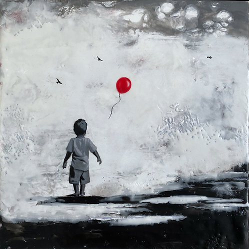"The Boy with His Red Balloon - 8"" x 8"", Original Art"