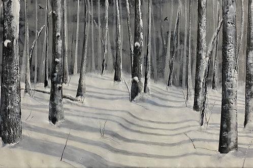 """A Walk in the Woods - 12"""" x 24"""", Original Art"""