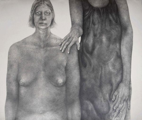 Autoportrait double 2019 (120 x 140 cm).