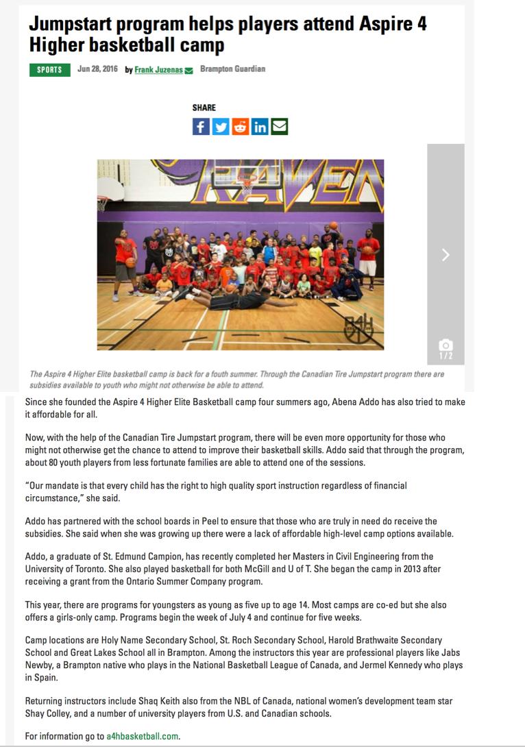 Jumpstart Program Helps Players Attend Aspire 4 Higher Basketball Camp