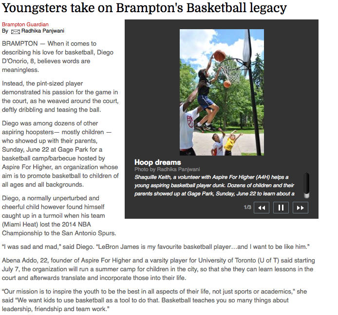 Youngsters take on Brampton's Basketball Legacy