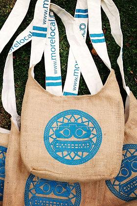 Mochilas o bolsas en Yute. Logos del cliente.