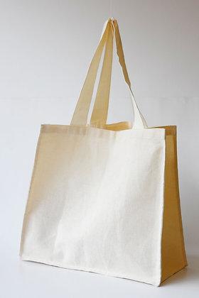 Bolsa con fuelle en lona cruda de algodón. Logos del cliente.