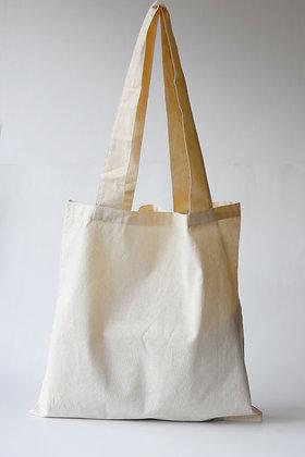 Bolsa plana en lona cruda de algodón. Logos del cliente.