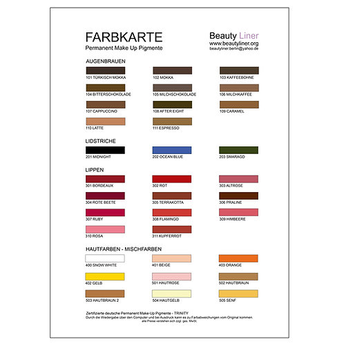 PERMANENT MAKE UP FARBEN KATALOG