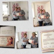 Permanent Make-up Ausbildung 2018 - Lehrerin und Schülerin bei Zertifikatvergabe