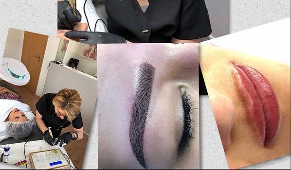 Permanent Make-up Ausbildung - Schülerin pigmentiert echtes Model und zeigt Ergebnisse der Mikropigmentieung an Agenbrauen und Lippen schon im Kurs