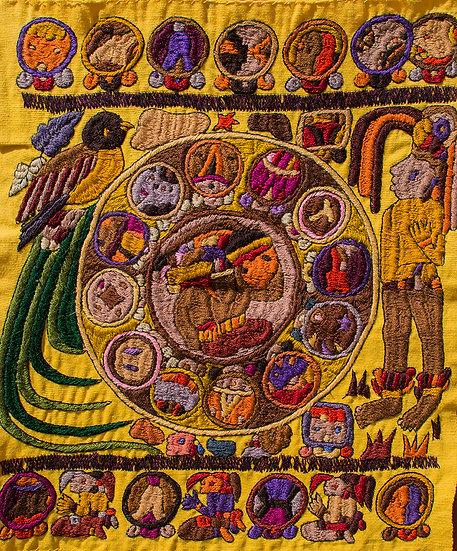 Bordado Santiago Atitlán - Calendario Maya
