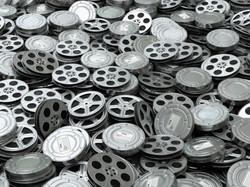 Movie video reels background. Films collection. 3d