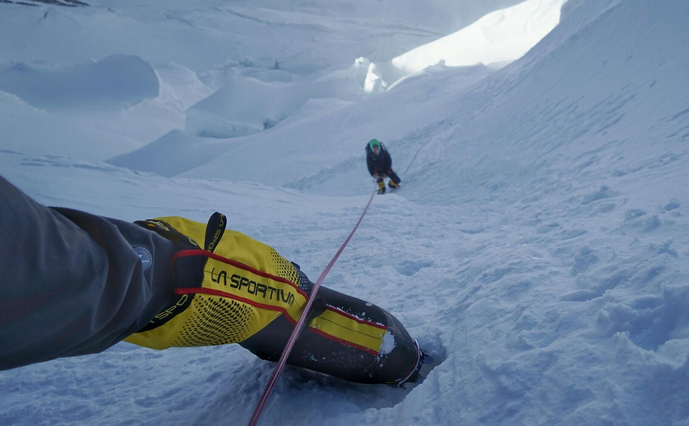 La Sportiva Olympus Mons 8000m Boots in action on the fixed lines below North Col.