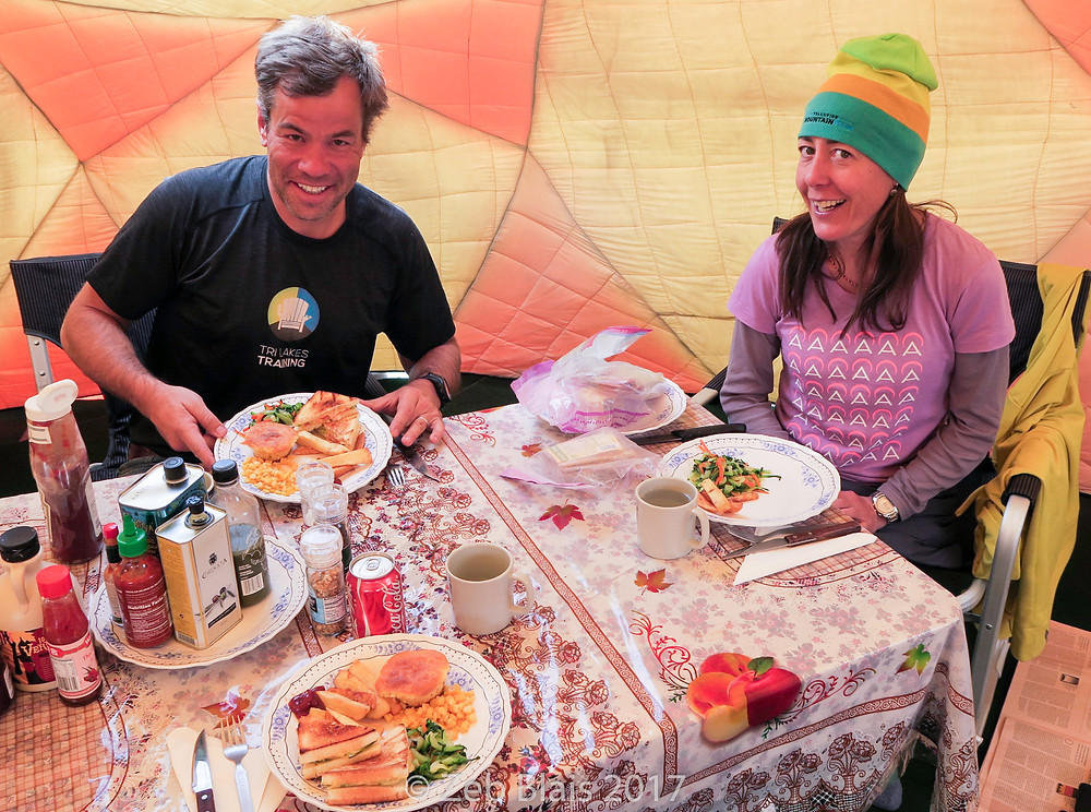 Brooks and Monica enjoying lunch at Base Camp.