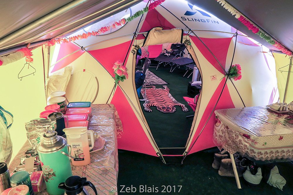 The mud room leading into our dome lounge and dining tent. Zeb Blais
