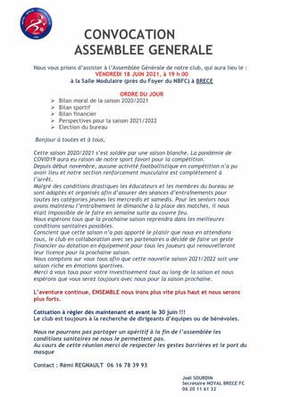 Convocation AG 18 Juin