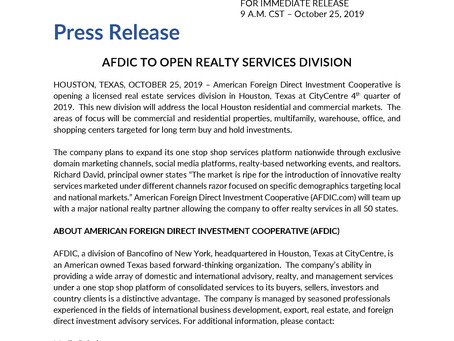 AFDIC TO OFFER REALTY SERVICES