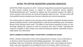 AFDIC to Offer Investor Lending Services