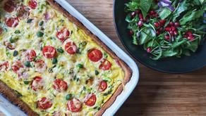 Middagspai med ost og skinke