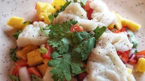 Ceviche av torsk med mangosalsa