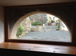 View through arched window