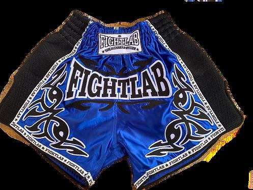 """MUAY THAI MMA K1 FIGHTLAB """"TRIBAL"""" RETRO THAI BOXING SHORTS - BLUE"""